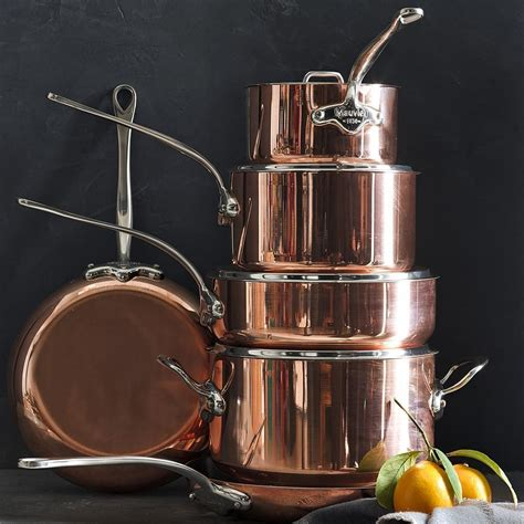 mauviel copper triply  piece cookware set williams sonoma ca