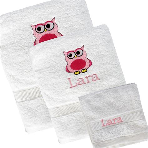 owl bath towel sets 3pc towel set owl motif personalised bath towel set