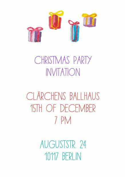 animated jumpy presents christmas party invitations