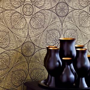 Schwarz Gold Tapete : yasmin design tapete schwarz gold ornament yasmin kollektionen tapeten dekowebshop ~ Yasmunasinghe.com Haus und Dekorationen