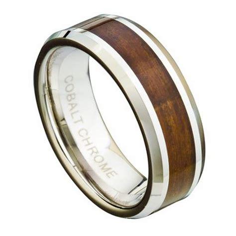 mens cobalt chrome wedding ring  koa wood inlay