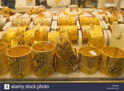 Gold bracelet jewelery for sale in shop in Gold Souk in