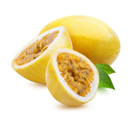 Yellow Maracuya Isolated On White Background Stock Photo - Download Image Now - iStock