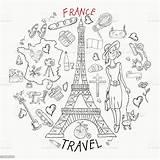 Europe France Coloring Country Drawings Illustration Travel Attractions Symbols French Contour Vector Printing Web Adult Chairs Illustrations Clip Beret Russia sketch template