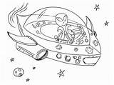 Coloring Spaceship Pages Printable Alien Activity sketch template