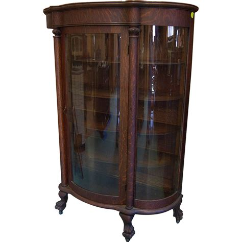 curved glass curio cabinet by chintaly oak curved glass china cabinet from robertsantiques on