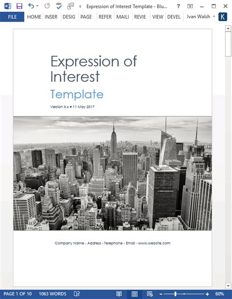 expression  interest template ms word