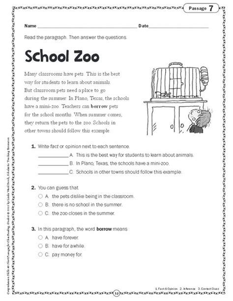comprehension skills  short passages  close reading