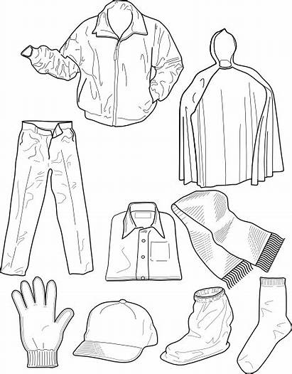 Clothing Clip Pants Outline Socks Jackets Clipart