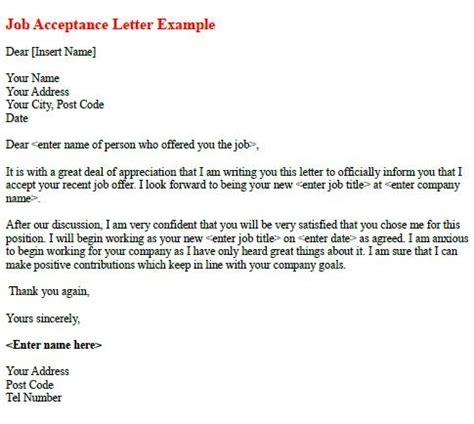job offer acceptance letter exle icover org uk job acceptance letter exle learnist org