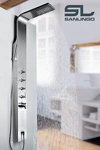 Duschpaneel Mit Massagedüsen : duschpaneel geb rsteter edelstahl duschs ule mit massaged sen von sanlingo bad duschpaneele ~ Eleganceandgraceweddings.com Haus und Dekorationen