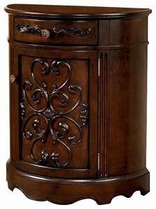 half moon console cabinet w dark brown finish victorian With kitchen cabinets lowes with half moon metal wall art
