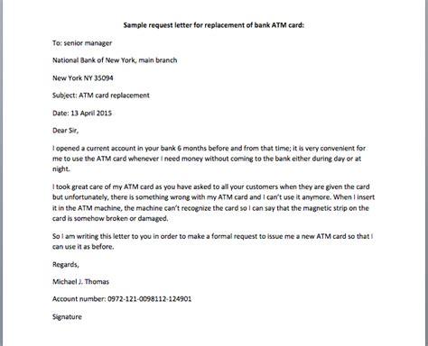 request leter bank debit card bank atm card replacement request letter smart letters