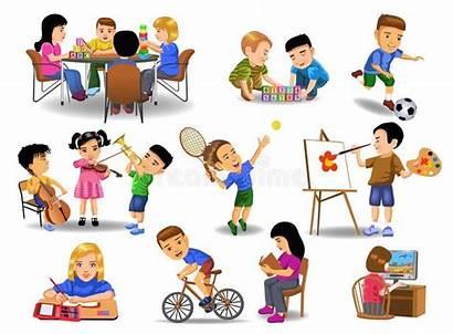 Leisure Activities Doing Different Children Illustration Background