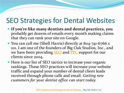 Seo Guidelines by Seo Guidelines And Strategies For Dental Websites