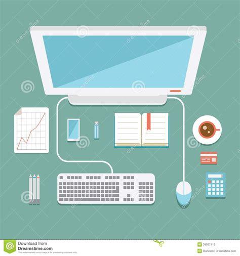poste de travail bureau poste de travail de bureau dans le style plat illustration