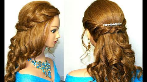curly romantic prom hairstyle  medium long hair youtube