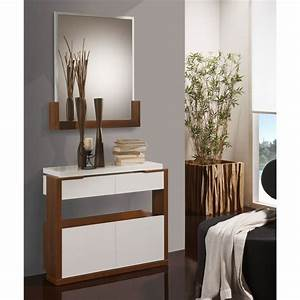 meuble d39entree blanc noyer miroir jungo univers With meuble d entree blanc