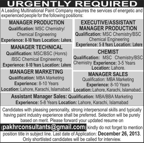 chemist production sales technical managers in