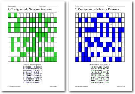 Crucigramas De Números Romanos  Juegos De Matemáticas