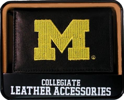 michigan wolverines embroidered  black leather trifold wallet