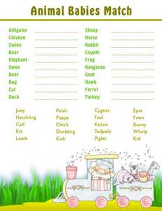 Free Printable Baby Shower Games Baby Animals