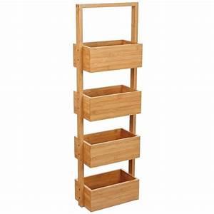 Meuble 25 Cm De Profondeur : meuble etag re salle de bain bambou 4 bacs de rangement ~ Edinachiropracticcenter.com Idées de Décoration