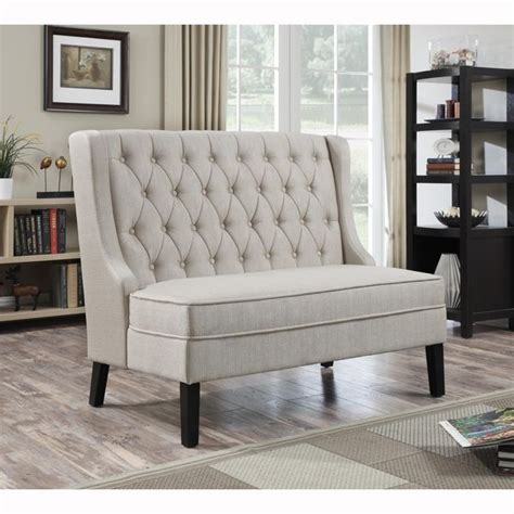 upholstered settee bench linen tufted upholstered settee bench great deals