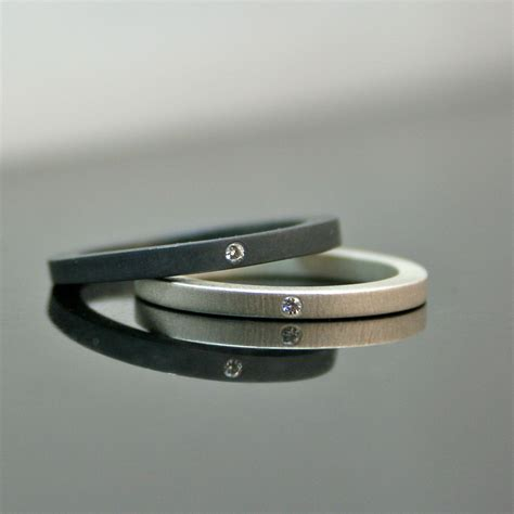 simple rings stackable silver wedding ring set