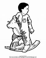 Coloring Thekidzpage Rocking Horse Child sketch template