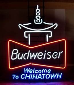 Budweiser Wel e To Chinatown Neon Beer Bar Sign Light