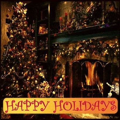 Merry Christmas Happy Wishes Fireplace Animated Ecard