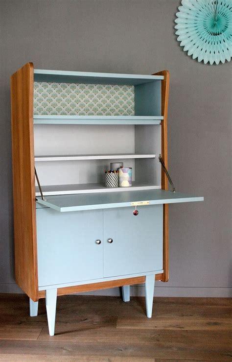 bureau secr aire meuble secrétaire vintage octave rénové et relooké par les jolis