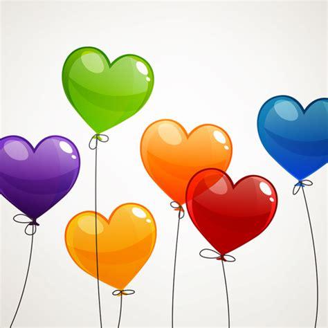 color heart balloons vector