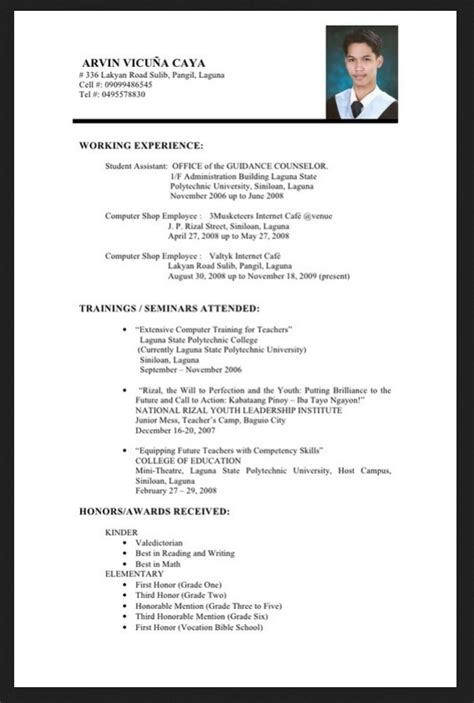 sle resume business administration fresh graduate