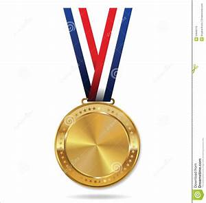 Blank Gold Medal With Tricolor Ribbon Stock Photo - Image ...