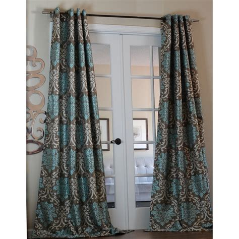 Brown And Aqua Shower Curtain by Milan Damask Smoky Teal Curtain Panel 15729662