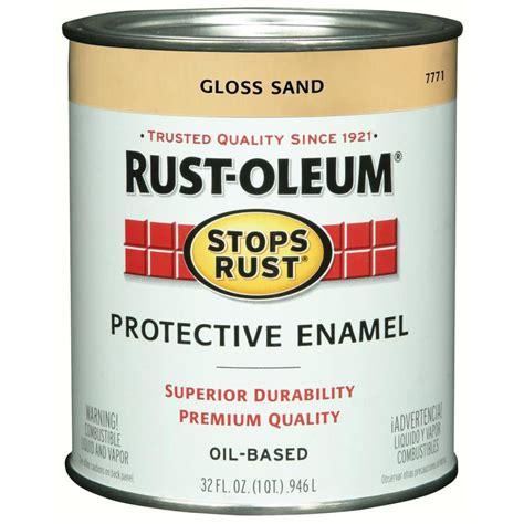 shop rust oleum stops rust sand gloss based enamel interior exterior paint actual net