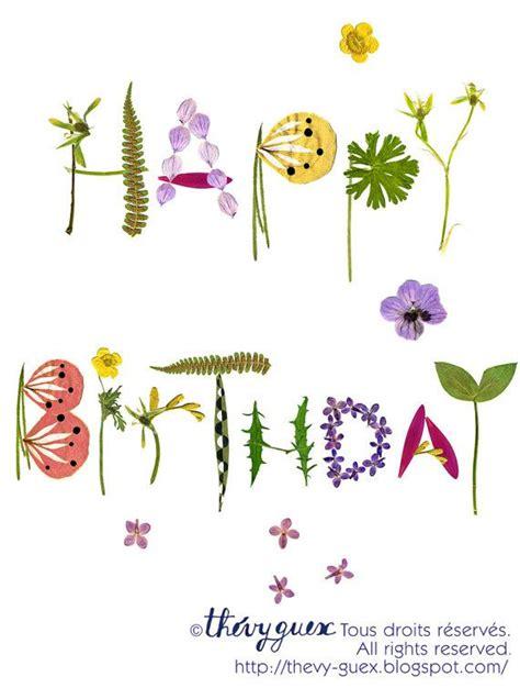 happy birthday herbarium botanische blumen von