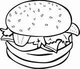 Bun Coloring Burger Food Clipart Pages Drawing Hamburger Oldcuts sketch template