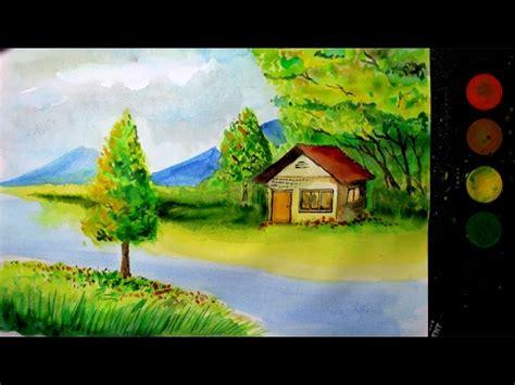 melukis pemandangan alam  cat air versi cepat
