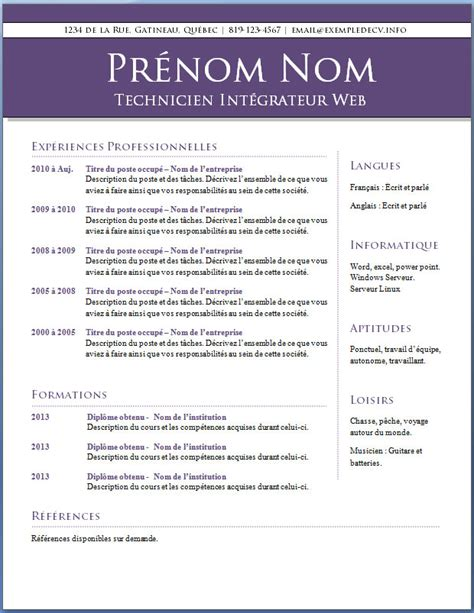 Modele De Cv Francais by Cv En Francais Exemple Curriculum Vitae Exemple Gratuit Psco