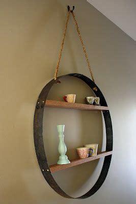 wine barrel shelf whiskey barrel hoop hanging wall shelf shelf ideas