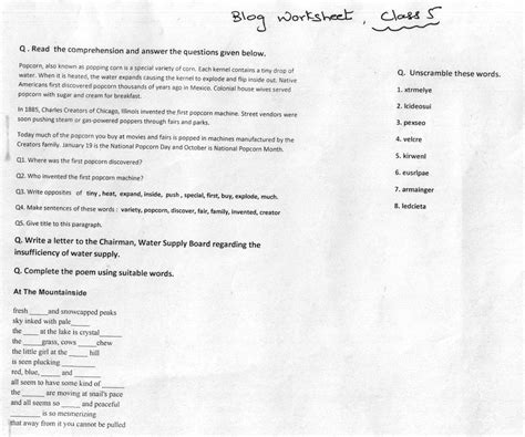 class 5 home work worksheets paf juniors