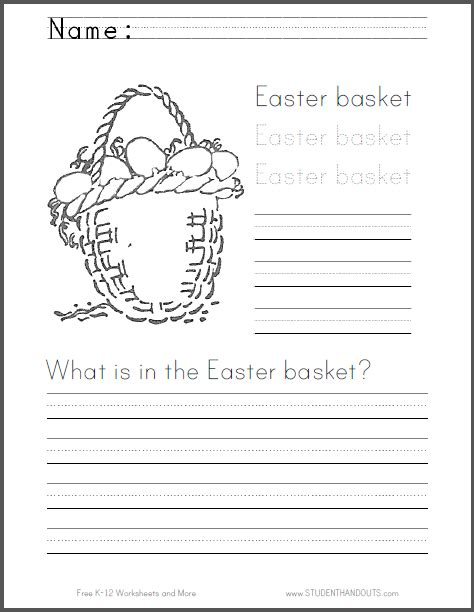 easter basket writing practice student handouts