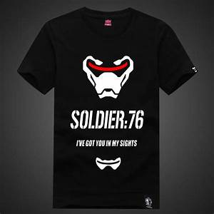 Lovely Overwatch Soldier 76 Tees Mens Black T Shirt