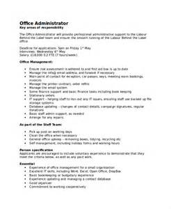 Office Administrator Duties For Resume by Office Administrator Description Related Keywords