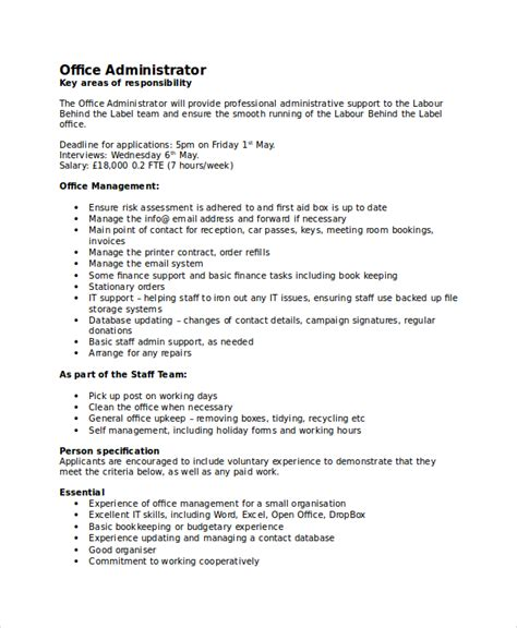 office administrator description related keywords