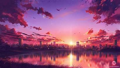 Anime Sunset Wallpapers Scene 4k Laptop 1080p