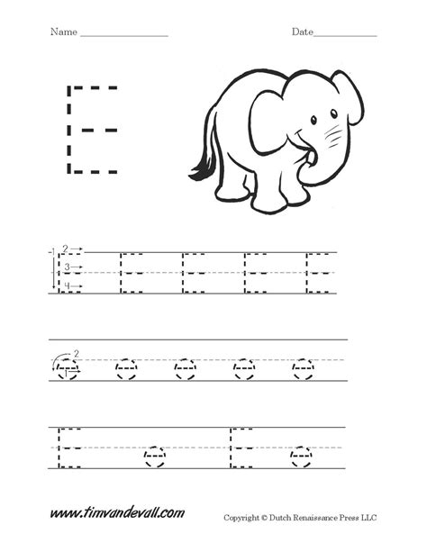letter e worksheets for preschool letter
